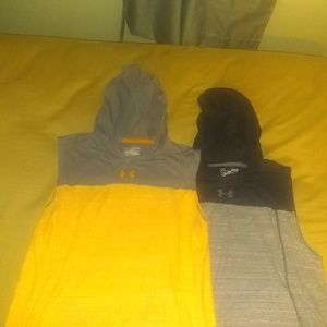 Boys  2 Under Armour Sleeveless hoodie sz L & XL